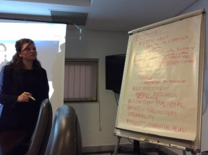 American participant Erin Kelley works with Tunisian fellows on grant proposal writing. (Photo credit: Johnetta Frasier)